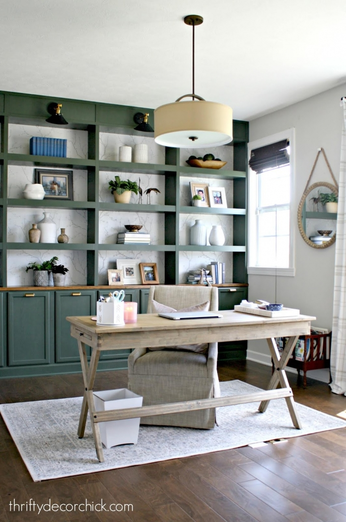 Green bookshelves by Thrifty Decor Chick. Vintage Vogue by Benjamin Moore.