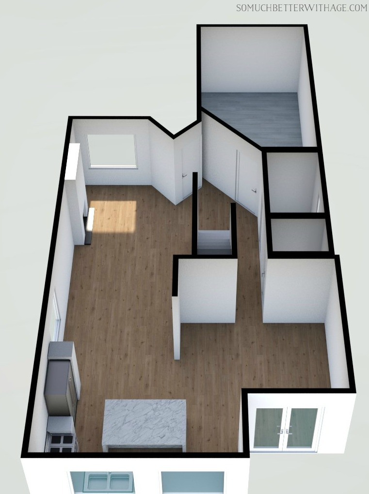 3D render of main floor.