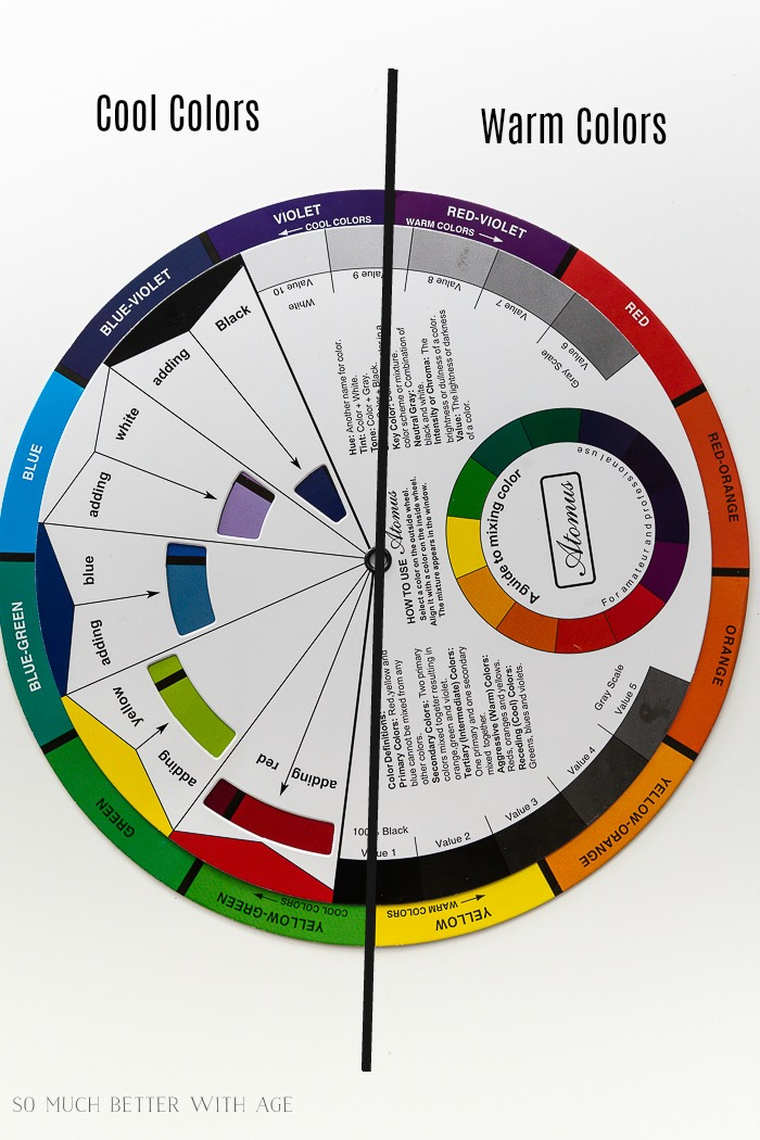 Cool and warm colors on a color wheel.