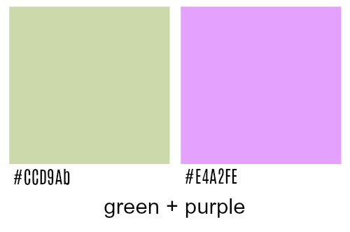 Green and purple colors.