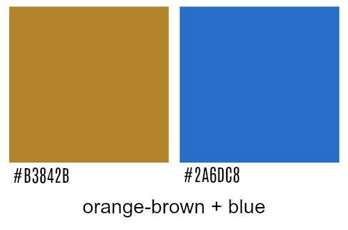Orange-brown and blue colors.