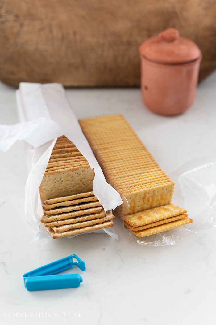 Packages of crackers ripped open.