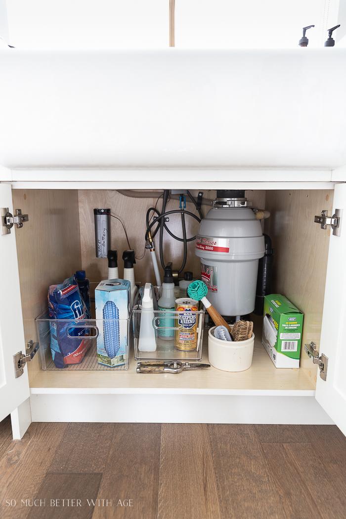 Organized bins with items under the kitchen sink.