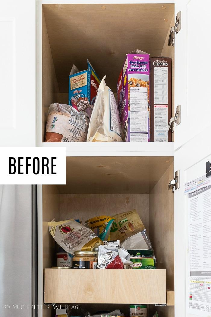 Messy pantry drawers.