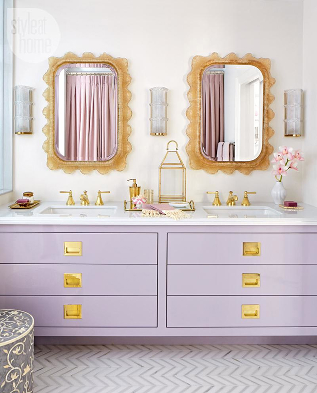 Lilac and gold bathroom from Style at Home.