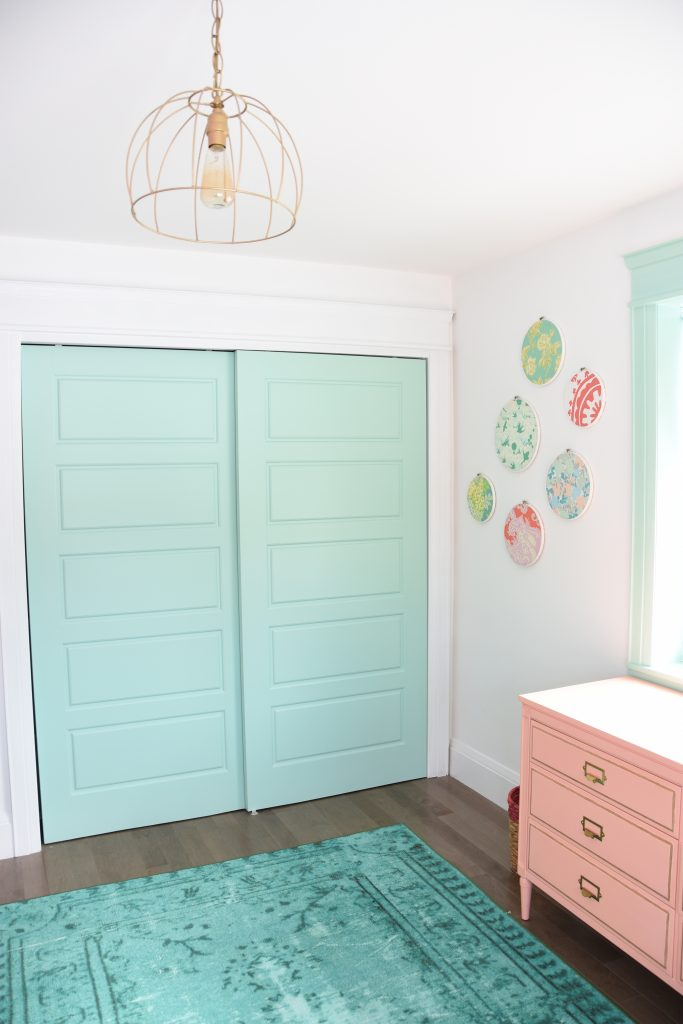 Mint and pink girl's bedroom from Sweetest Digs.