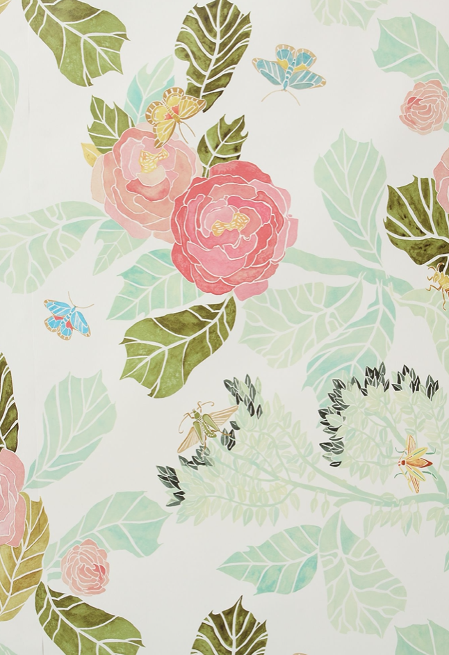 Watercolor Floral wallpaper from Anthropologie.