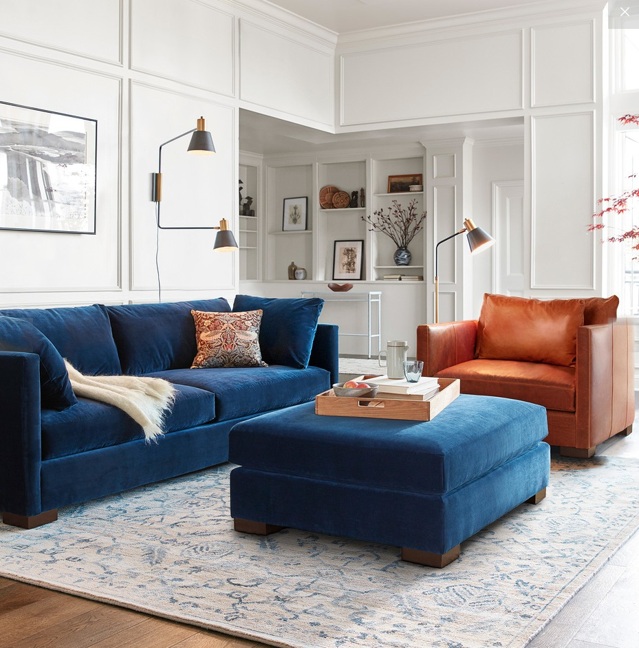 Blue velvet couch and leather armchair in living room.