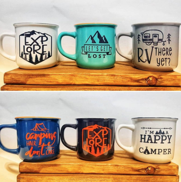 Ceramic camping mugs by Courtney's Craft Cabin.