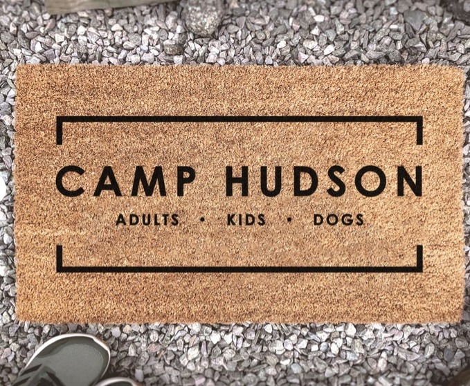 Personalized door mat for camping by Customat.