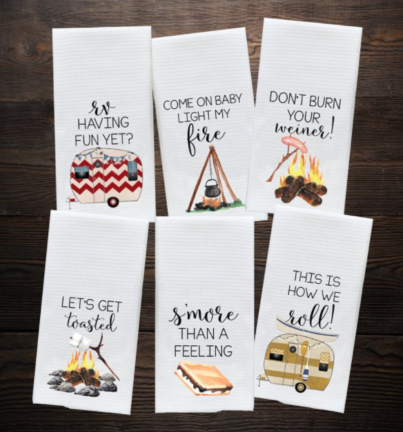 Camping and RV tea towels by Do Take It Personally.