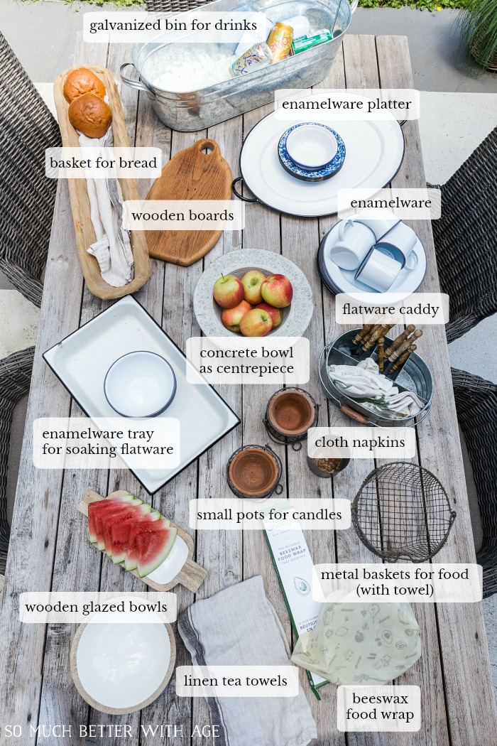 Table with outdoor entertaining items on it and labels describing each one.