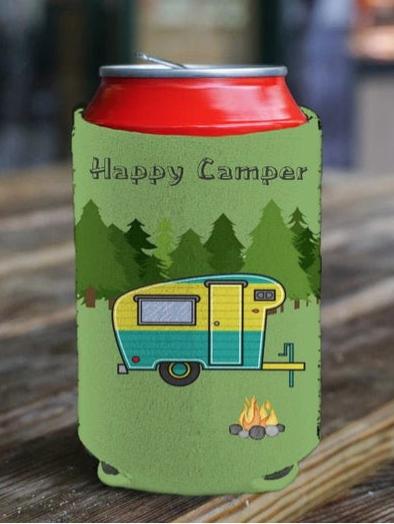 Happy Camper beverage holder from Fyre Heart Designs.