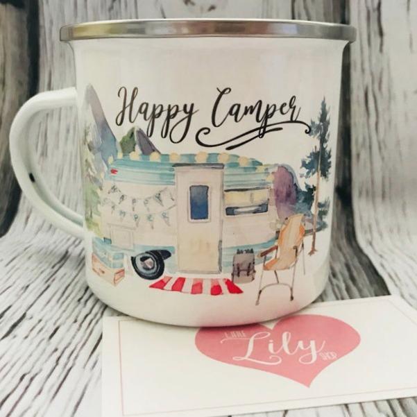Happy Camper enamel mug by Little Lily Shop.