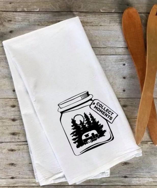 Collect Moments tea towel by Mnt Ridge Farm Designs.