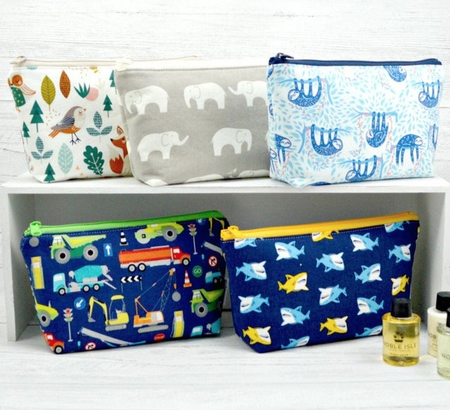 Kids toiletry bags by Textile Trolley.