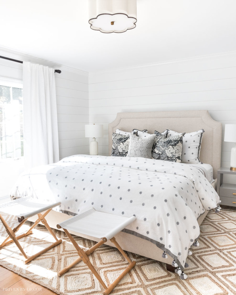 Bedroom with polka dot duvet from Kris of Driven by Decor.