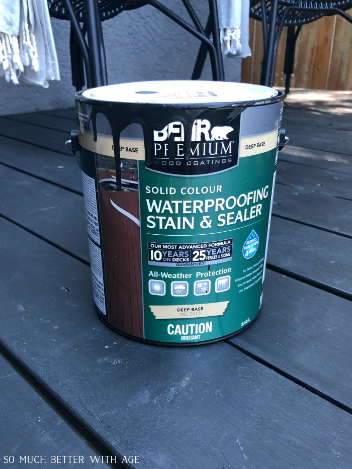 Behr Premium solid colour waterproofing stain and colour.