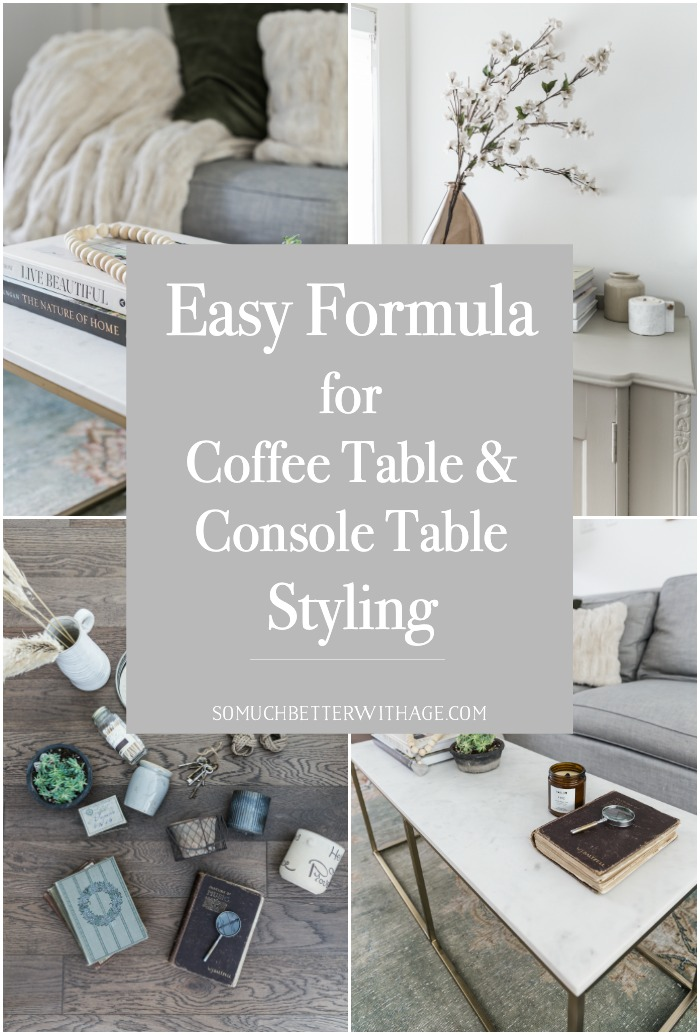 Easy formula for coffee table and console table styling.