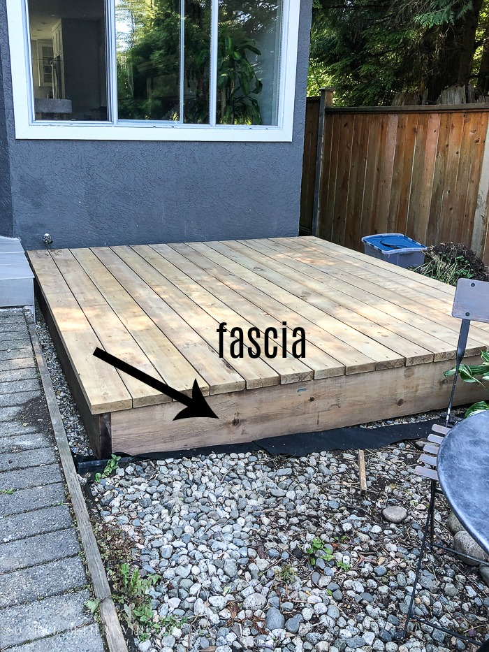 Freestanding deck with fascia in front.