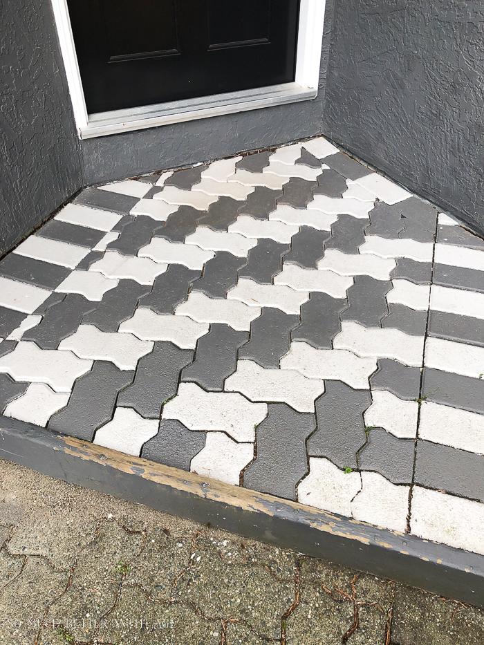 Painted brick pavers.