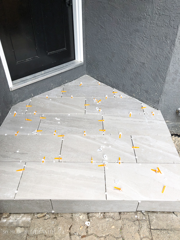 Tiling job for front step of house.