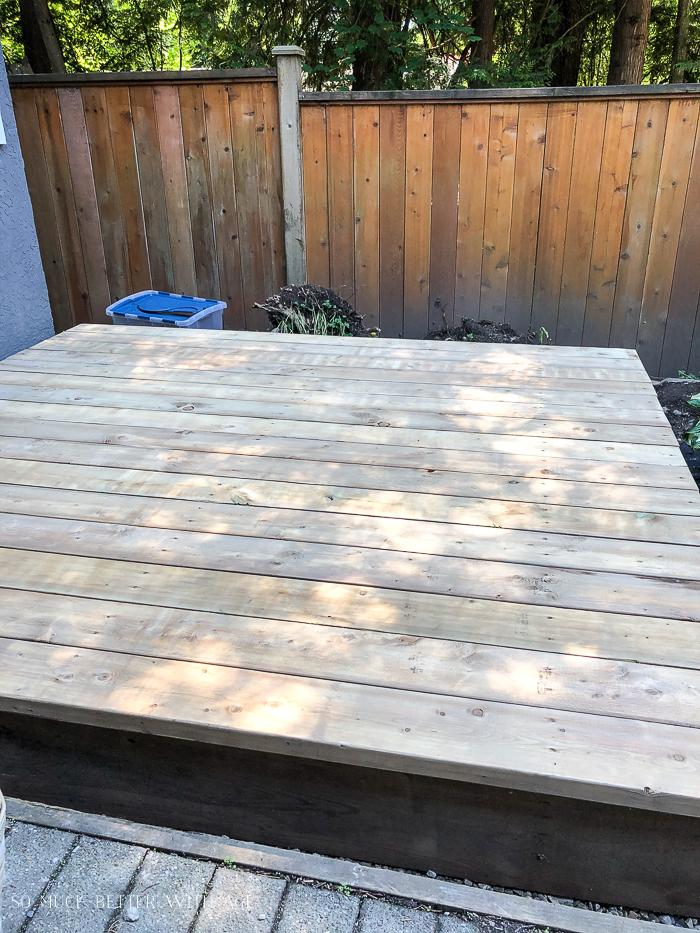 Freshly sanded deck.