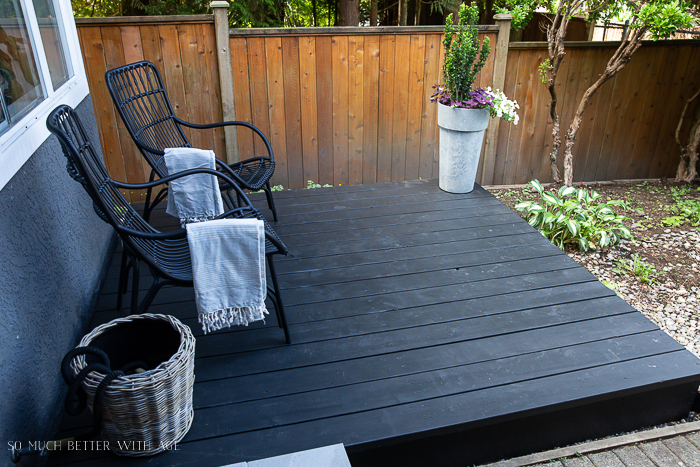 Black stained front patio.