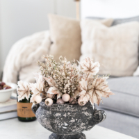 Neutral Fall Decorating with Fall Leaves