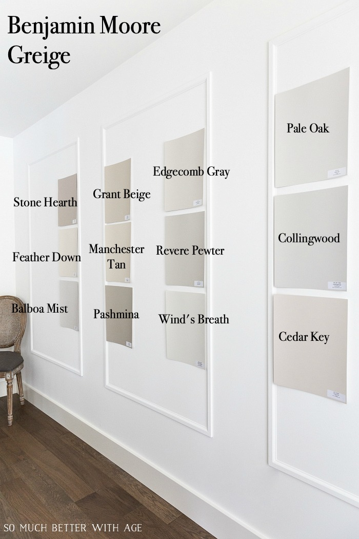 Many Benjamin Moore Greige paint colors on wall.