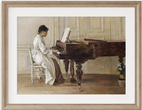 French Home Living - woman piano vintage art.