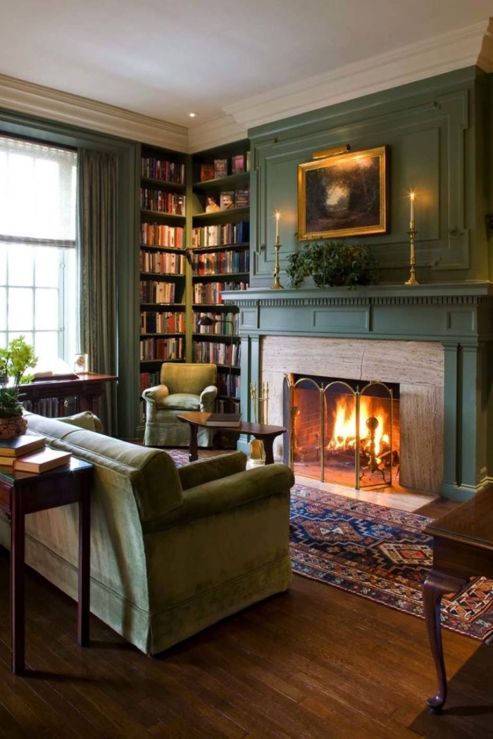 Monochromatic green living room via House Beautiful.