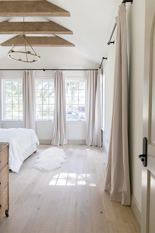 Monochromatic beige bedroom by Jenna Sue Designs.