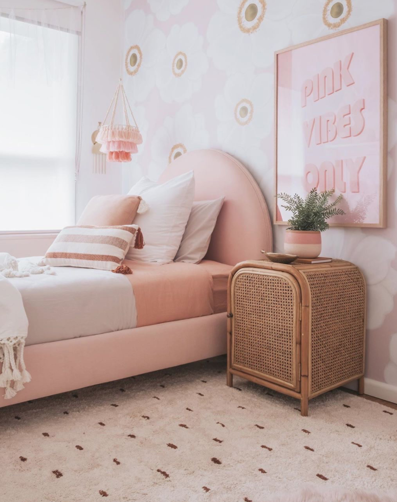 Monochromatic pink bedroom by Minnie and Me Interiors.