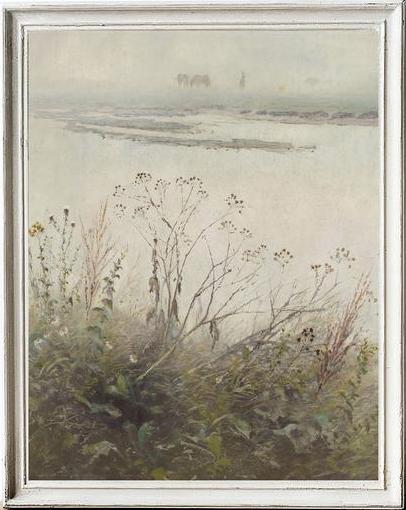 Olive and Oak Prints - river landscape painting.
