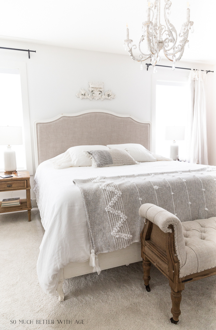 Monochromatic bedroom by So Much Better With Age.