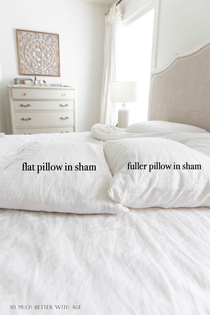 Two pillows on white bed with graphics saying flat pillow in sham and fuller pillow in sham.
