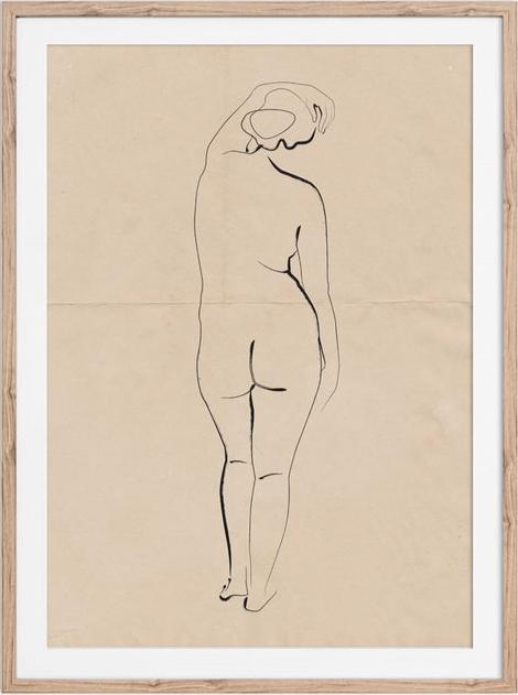 The Printable Shop - minimalist nude sketch.