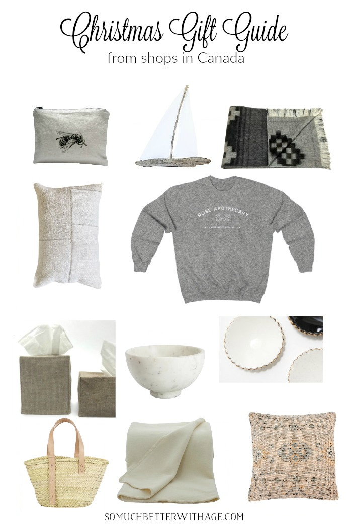Christmas gift guides in support of small businesses with lots of home decor, vintage items and neutral colors.