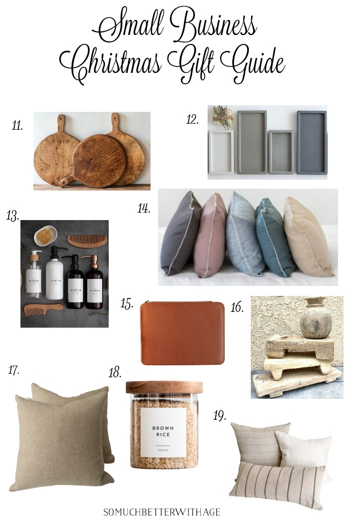 Small business Christmas gift guide with pillows and vintage items.