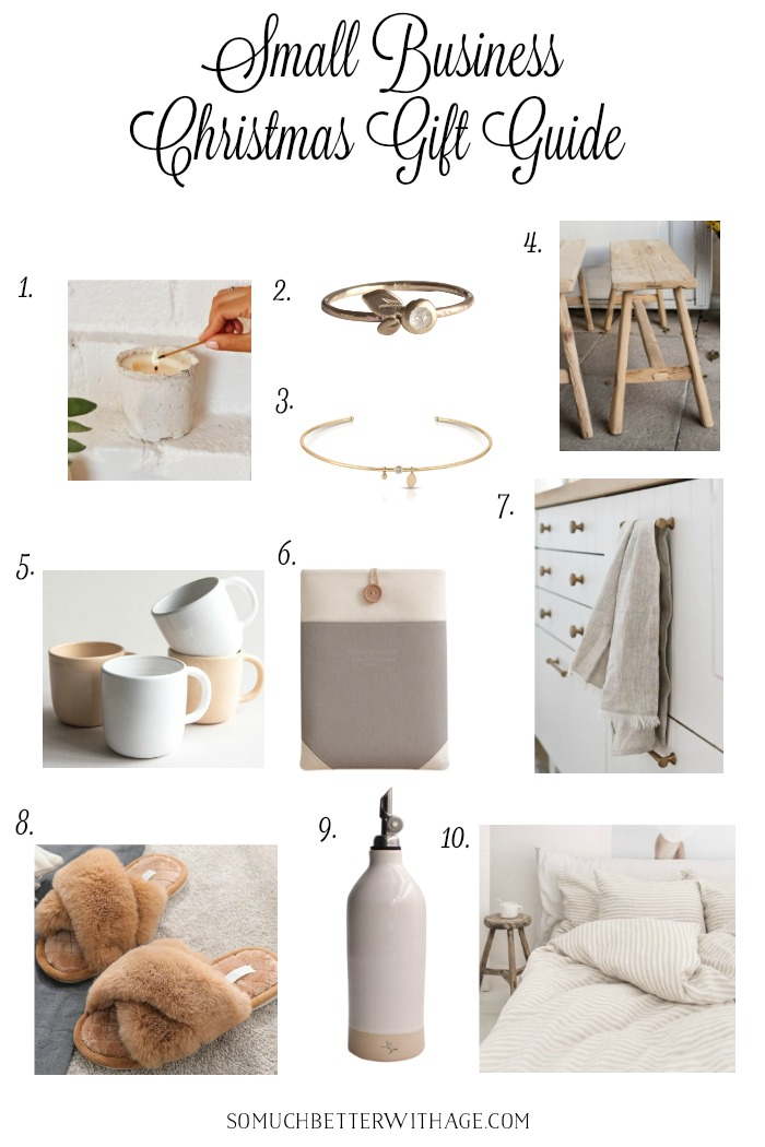 Small business Christmas gift guide with vintage and neutral items.