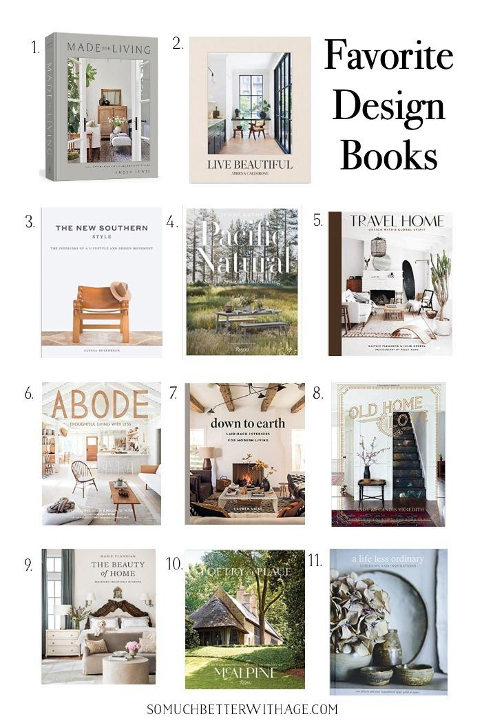 Livros favoritos de design de interiores.