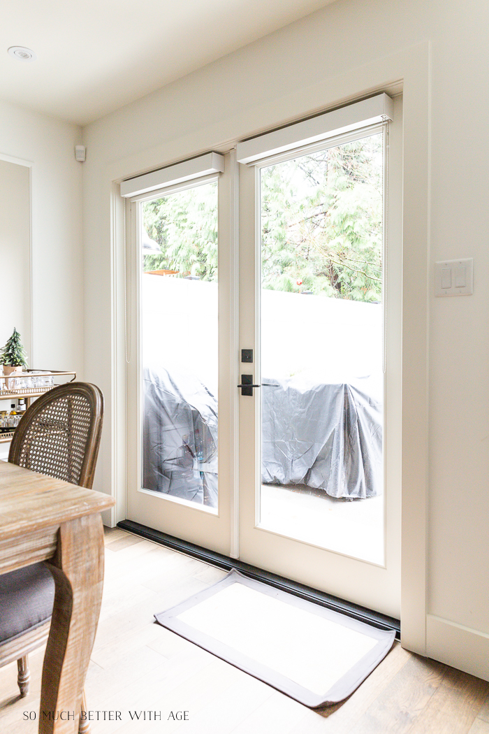 French doors in dining room.