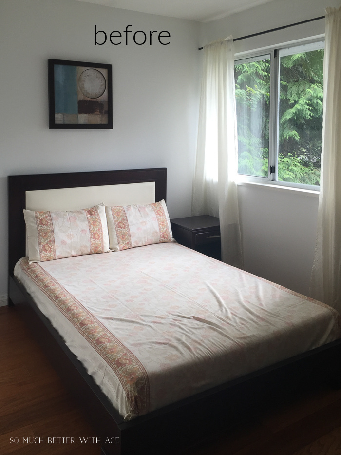 Before photo of dark brown bed.