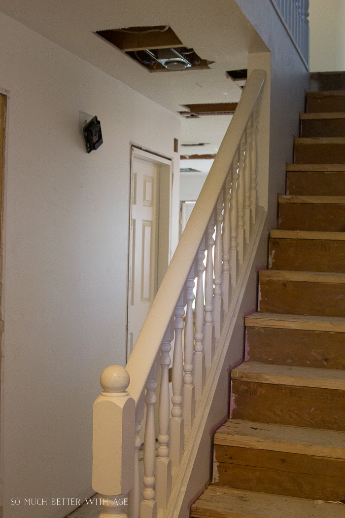 Photo of staircase being renovated.
