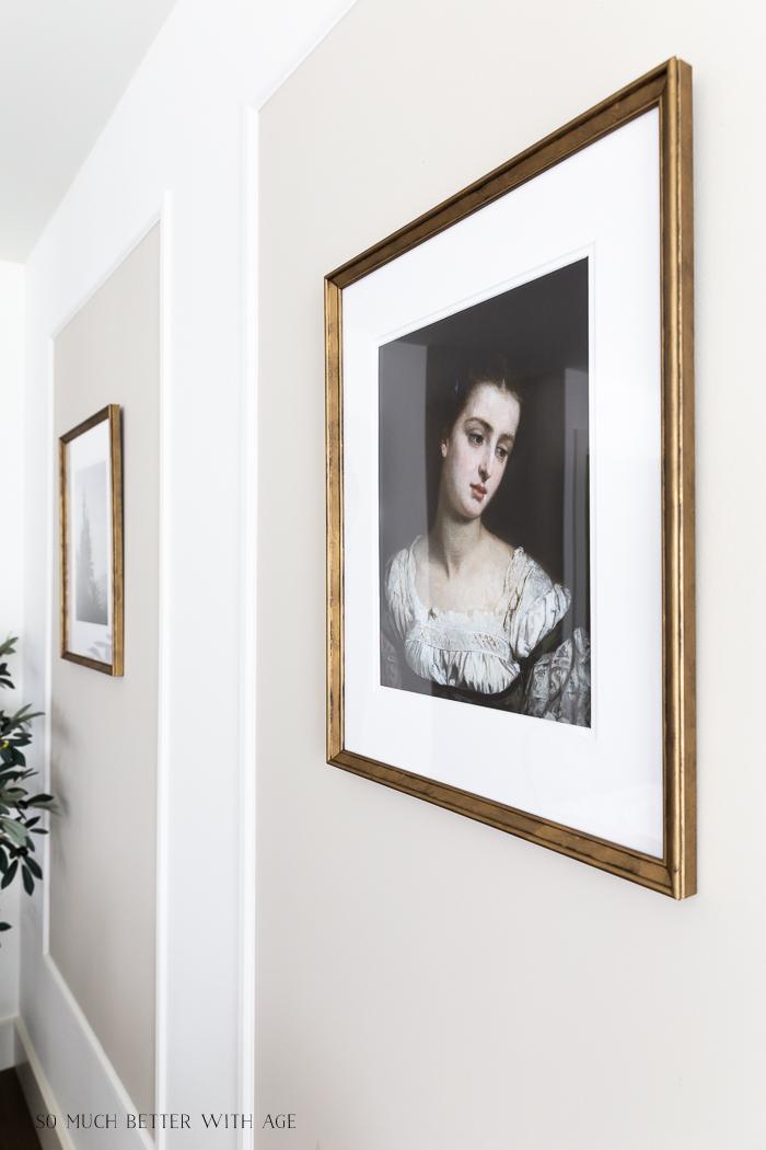 Old vintage portrait in gold frame.