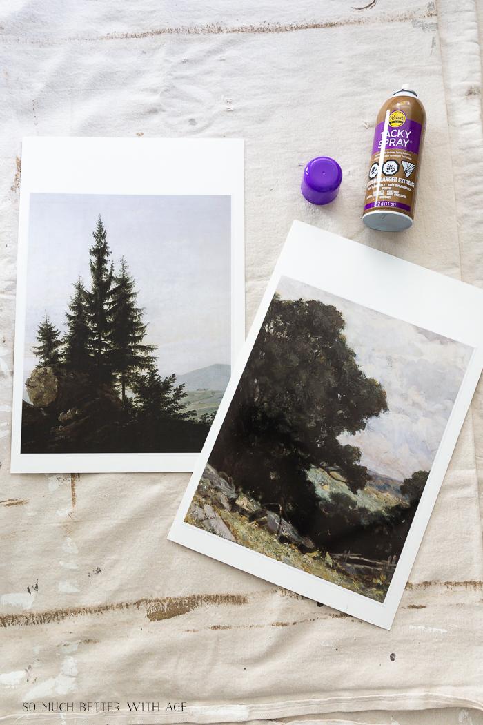Artwork of trees being glued on paper.