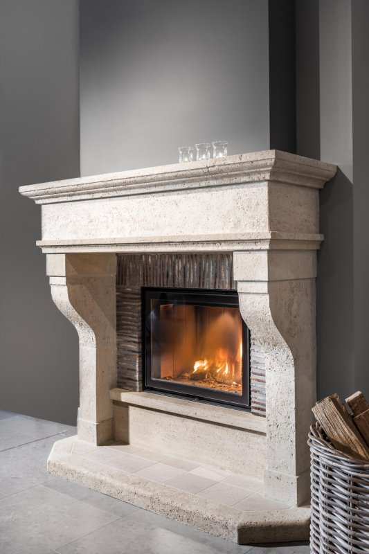 Cast stone fireplace by Marbrino