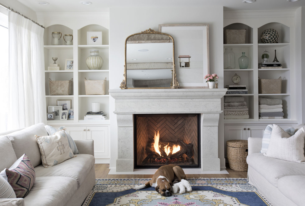 Cast stone fireplace via Jillian Harris