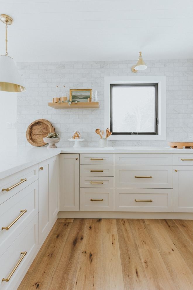 Benjamin Moore Pale Oak kitchen designed by Andrea McQueen.
